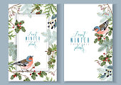 Vector vintage banners with winter forest branches and birds. Highly detailed winter design for Christmas greeting card, party invitation, holiday sales. Can be used for poster, web page, packaging
