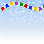 Winter blue background with snowflakes and garland of red Chines