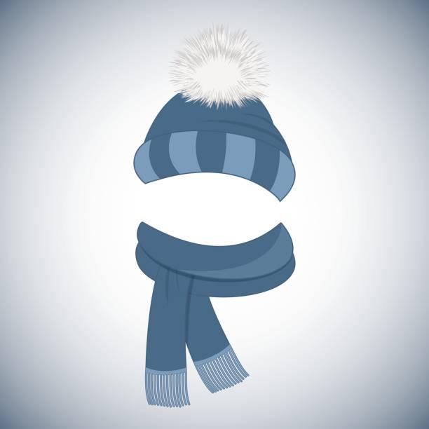 winter blaue kappe mit einem pompon und einen schal mit fransen. - schals stock-grafiken, -clipart, -cartoons und -symbole