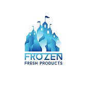 Winter blue castle. Logo for frozen products.