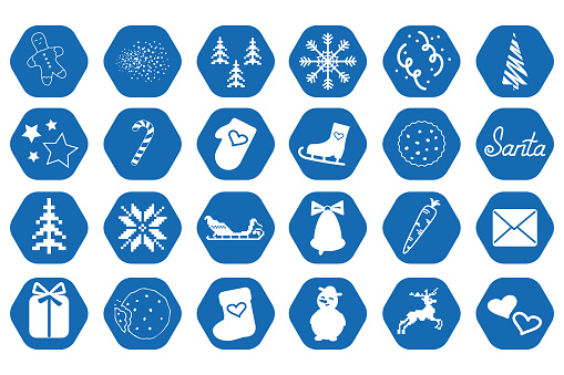 Winter blue icons on white.