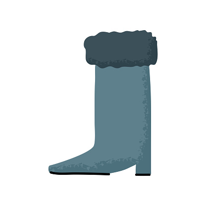 winter boots shoes icon. Flat vector illustration.