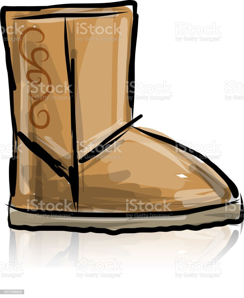 672a05f86f9 Winter Boots Ugg Sketch For Your Design Stock Vector Art & More ...