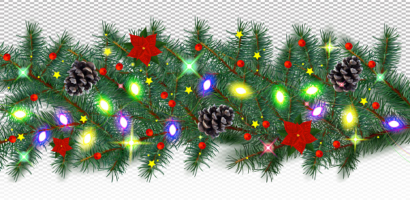 Winter border with conifer branches and pine cones, light garland, poinsettia, red berries on transparent background. Christmas holiday. Realistic vector illustration.