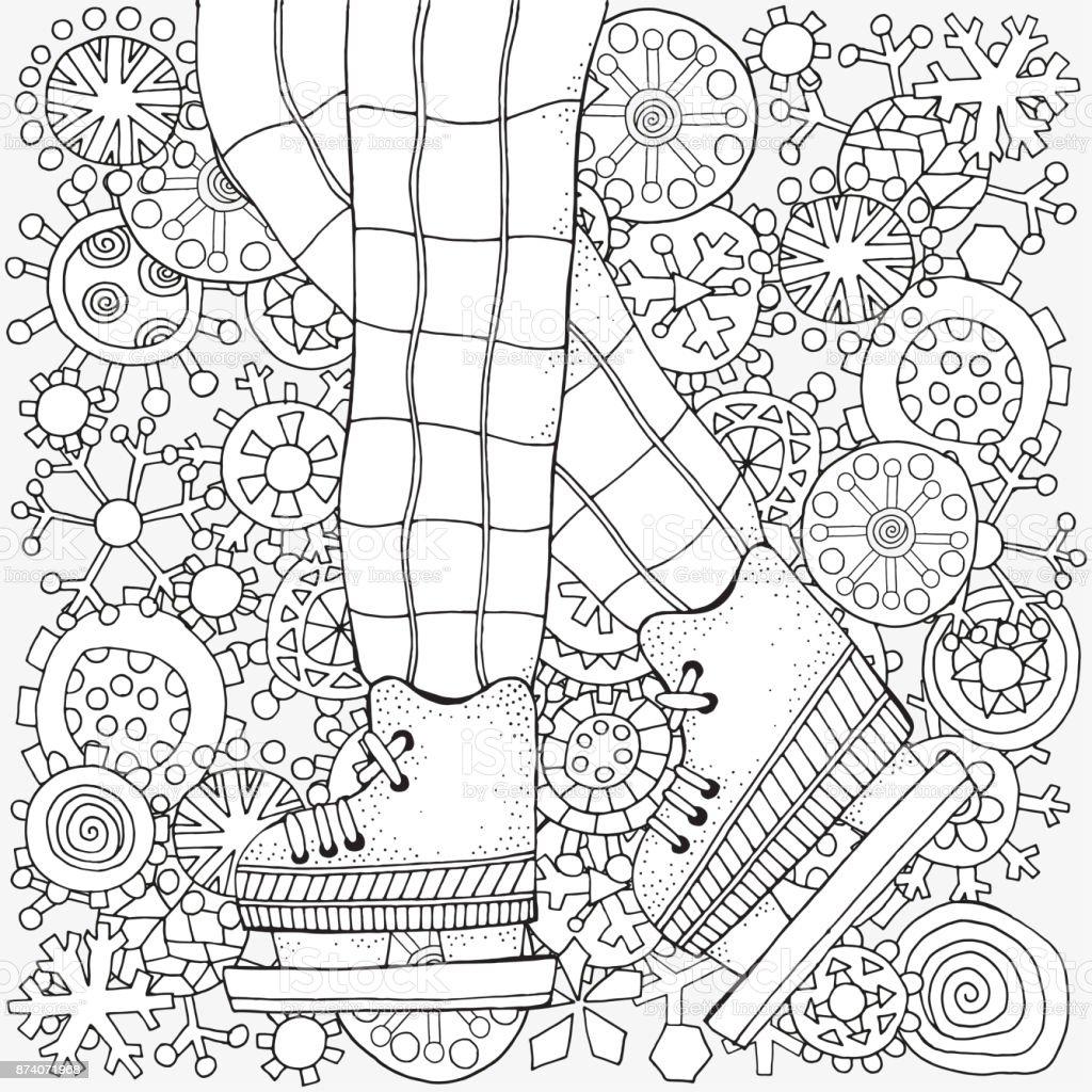 冬のスケートの少年冬の雪大人ぬりえ本ベクターの手描きイラスト塗り絵の