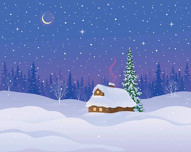 stockillustraties, clipart, cartoons en iconen met winter cabin background - christmas cabin
