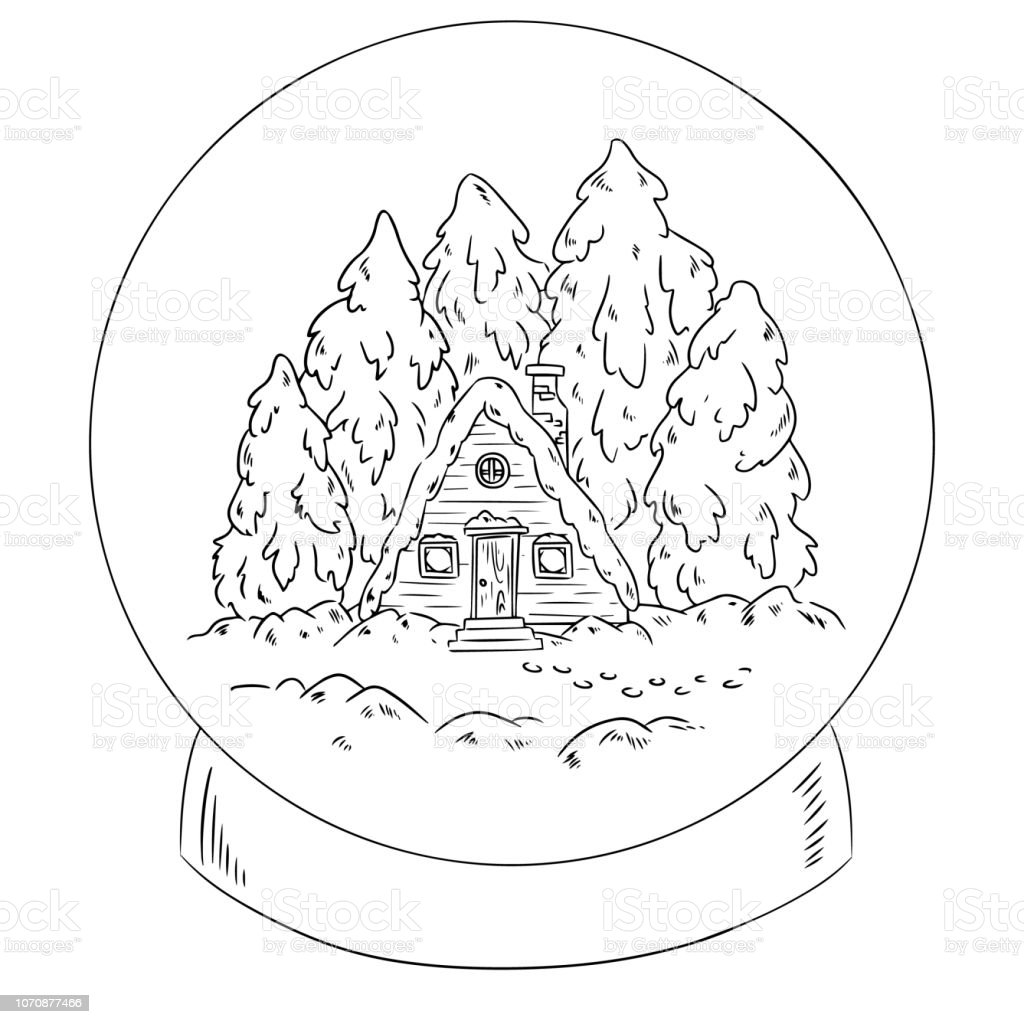 Kis Kabin Gunluk Kar Dunya Sahnesinde Boyama Stok Vektor Sanati