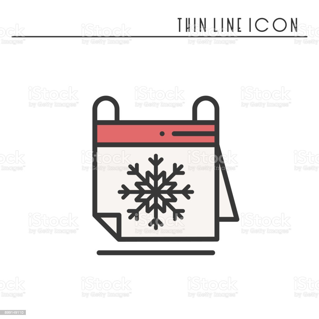 winter calendar line icon reminder party time date christmas new year celebration - Whens Christmas