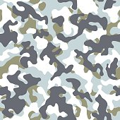 Vector illustration of snow winter camouflage seamless pattern