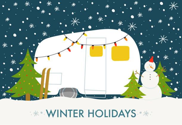 winter-camp - campinganhänger stock-grafiken, -clipart, -cartoons und -symbole
