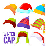 Winter Cap Set Vector. Cold Weather Headwear. Hats, Caps. Apparel Clothes For Autumn. Isolated Cartoon Illustration