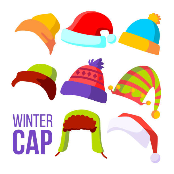 Winter Cap Set Vector. Cold Weather Headwear. Hats, Caps. Apparel Clothes For Autumn. Isolated Cartoon Illustration vector art illustration