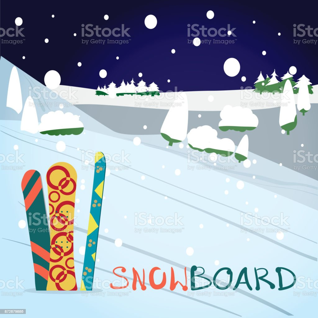 Winter card background. Mountains, snowboards in the snow vector art illustration