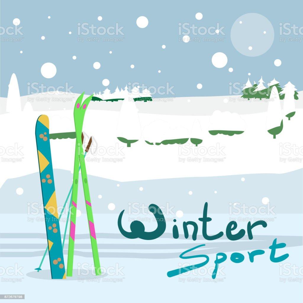 Winter card background. Ski run track, snowboard and ski equipment vector art illustration