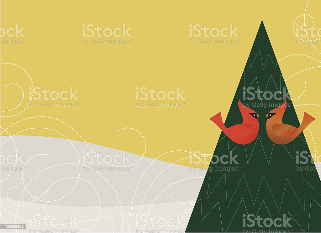 Winter Cardnial Pair royalty-free stock vector art