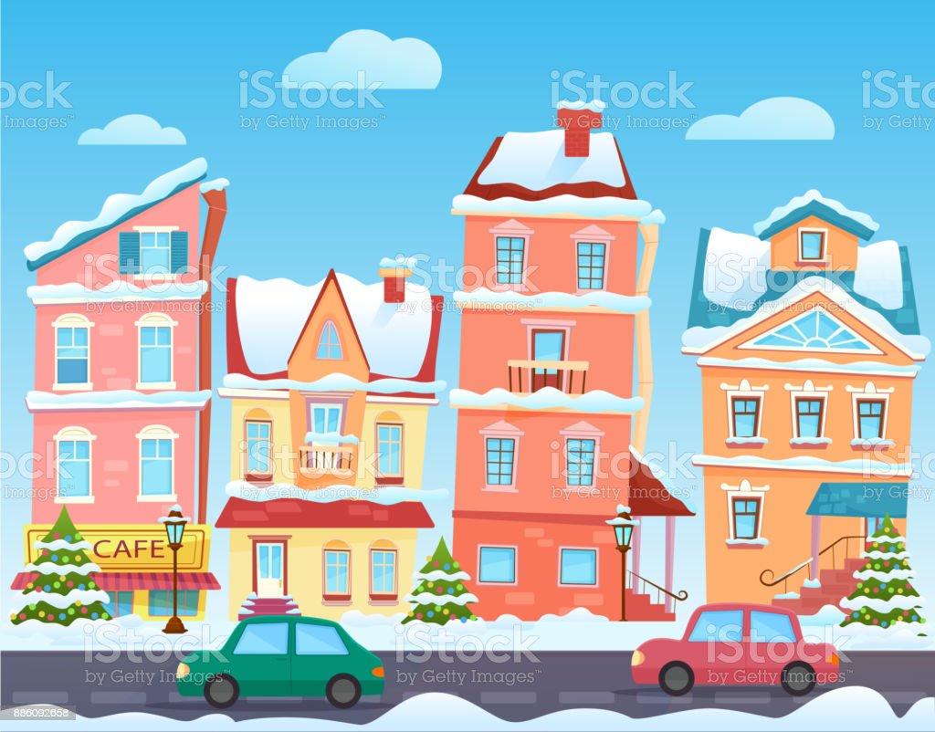 Magnificent Winter Cartoon City Landscape Vector Christmas Background Interior Design Ideas Skatsoteloinfo
