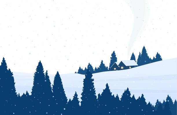 stockillustraties, clipart, cartoons en iconen met cartoon besneeuwde winterlandschap met dennenbos, twee huizen en rook uit de schoorsteen. - christmas cabin