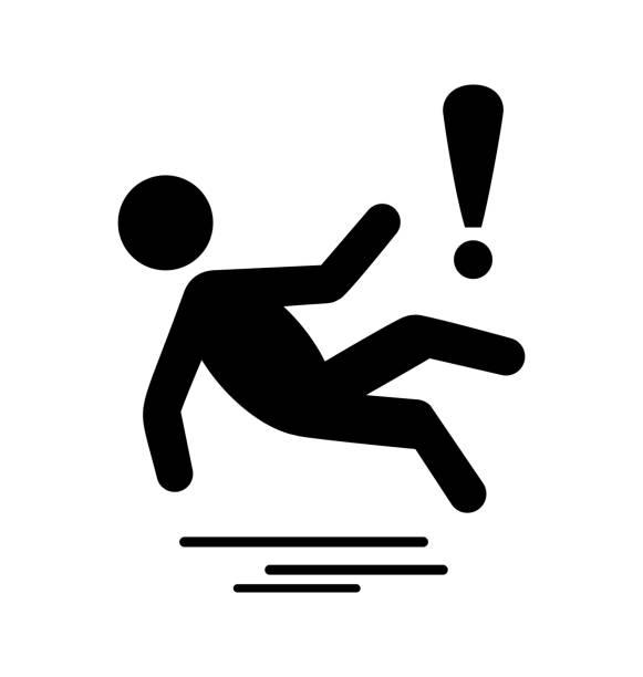 Winter Caution Danger Information Slippery Surface Flat Icon vector art illustration