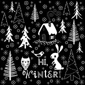 Christmas and New Year Winter Background with Fir Trees, Animals and Text. RGB, 10 EPS.