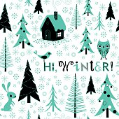 Christmas and New Year Winter Pattern Background with Fir Trees, Animals and Text.