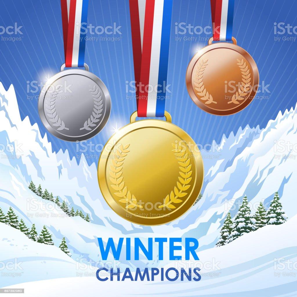Winter Champion Medals vector art illustration