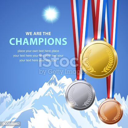 Champion medals for the winter outdoor competition with the ice mountain background