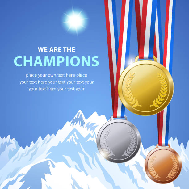 winter champion medals - rock formations stock illustrations