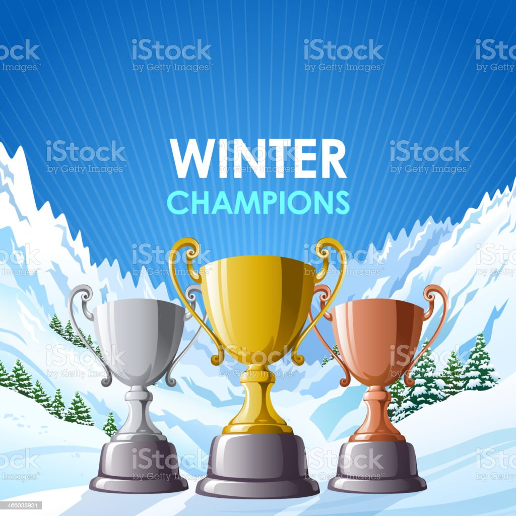 Winter Champions Trophies royalty-free stock vector art