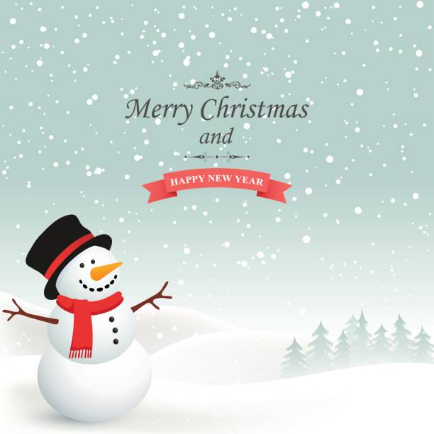 Winter Christmas Background Winter Christmas background with snow snowman stock illustrations