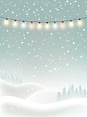 Winter Christmas background with snow