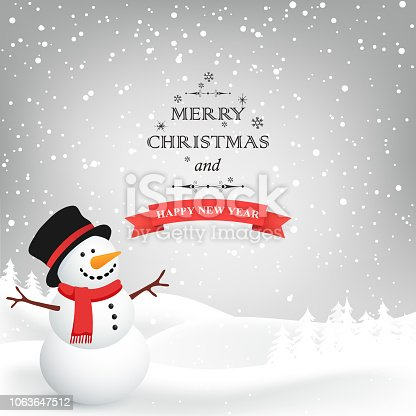 istock Winter Christmas Background. Vector snowman. Christmas Greeting Card. 1063647512