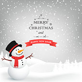 Winter Christmas Background. Vector snowman. Christmas Greeting Card.