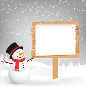 Winter Christmas Background with copy space. Vector snowman. Greeting Card.