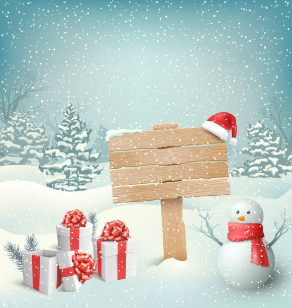 Winter Christmas Background with Signpost Snowman and Gift Boxes Winter Christmas Background with Wooden Signpost Snowman and Gift Boxes north pole stock illustrations