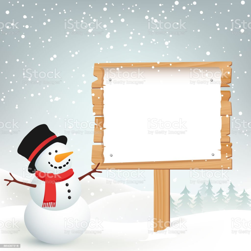 Winter Christmas Background with Snowman royalty-free winter christmas background with snowman stock vector art & more images of backgrounds