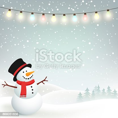 istock Winter Christmas Background with Snowman 866051836