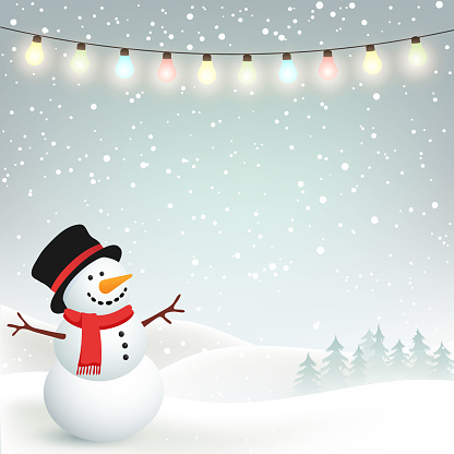 Winter Christmas Background with Snowman