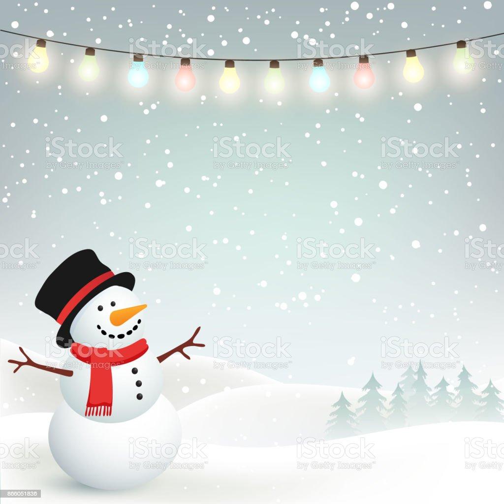 Fond d'hiver Noël avec bonhomme de neige - Illustration vectorielle