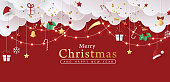 Winter christmas banner background composition in paper cut style.Celebration quotation for card.Vector illustration.