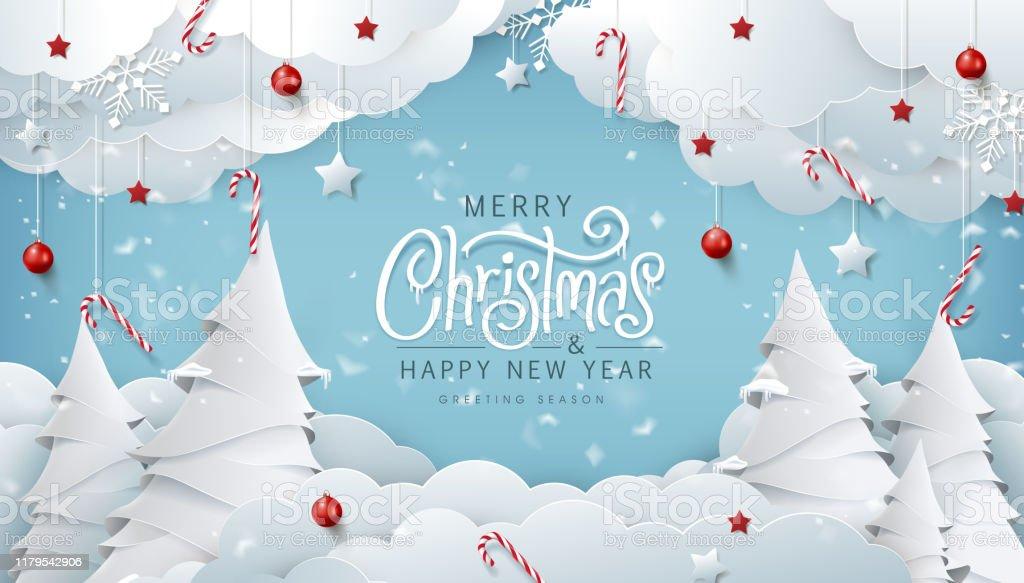 Vinter jul komposition i papper snitt stil. Merry Christmas text kalligrafiska bokstäver vektor illustration. - Royaltyfri Affisch vektorgrafik