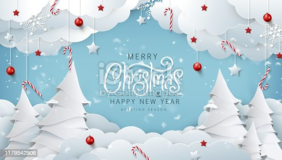 istock Winter christmas composition in paper cut style.Merry Christmas text Calligraphic Lettering Vector illustration. 1179542906