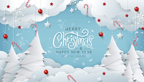 Winter christmas composition in paper cut style.Merry Christmas text Calligraphic Lettering Vector illustration.