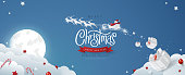 Winter christmas composition in paper cut style.Merry Christmas text Calligraphic Lettering and Santa Claus on the sky Vector illustration.