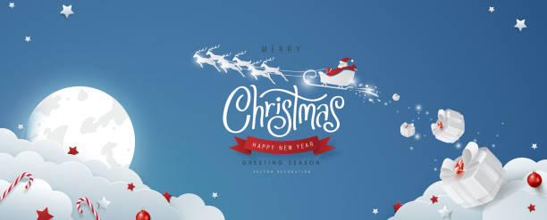 Winter christmas composition in paper cut style.Merry Christmas text Calligraphic Lettering and Santa Claus on the sky Vector illustration. vector art illustration