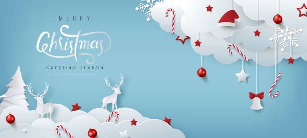 Winter christmas composition in paper cut style.Merry Christmas text Calligraphic Lettering Vector illustration. vector art illustration