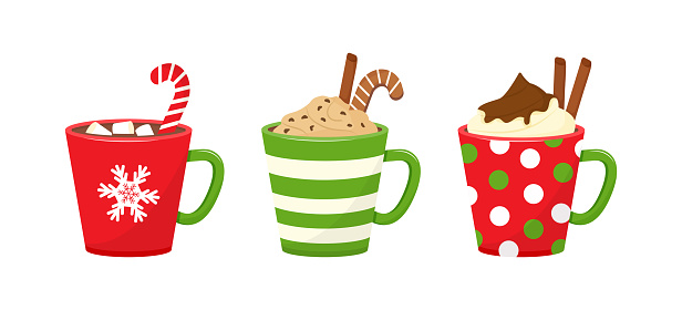 Winter Christmas cups with drinks. Holiday mugs with hot chocolate, cocoa or coffee, and cream. Candy cane, cinnamon sticks, marshmallows. Vector