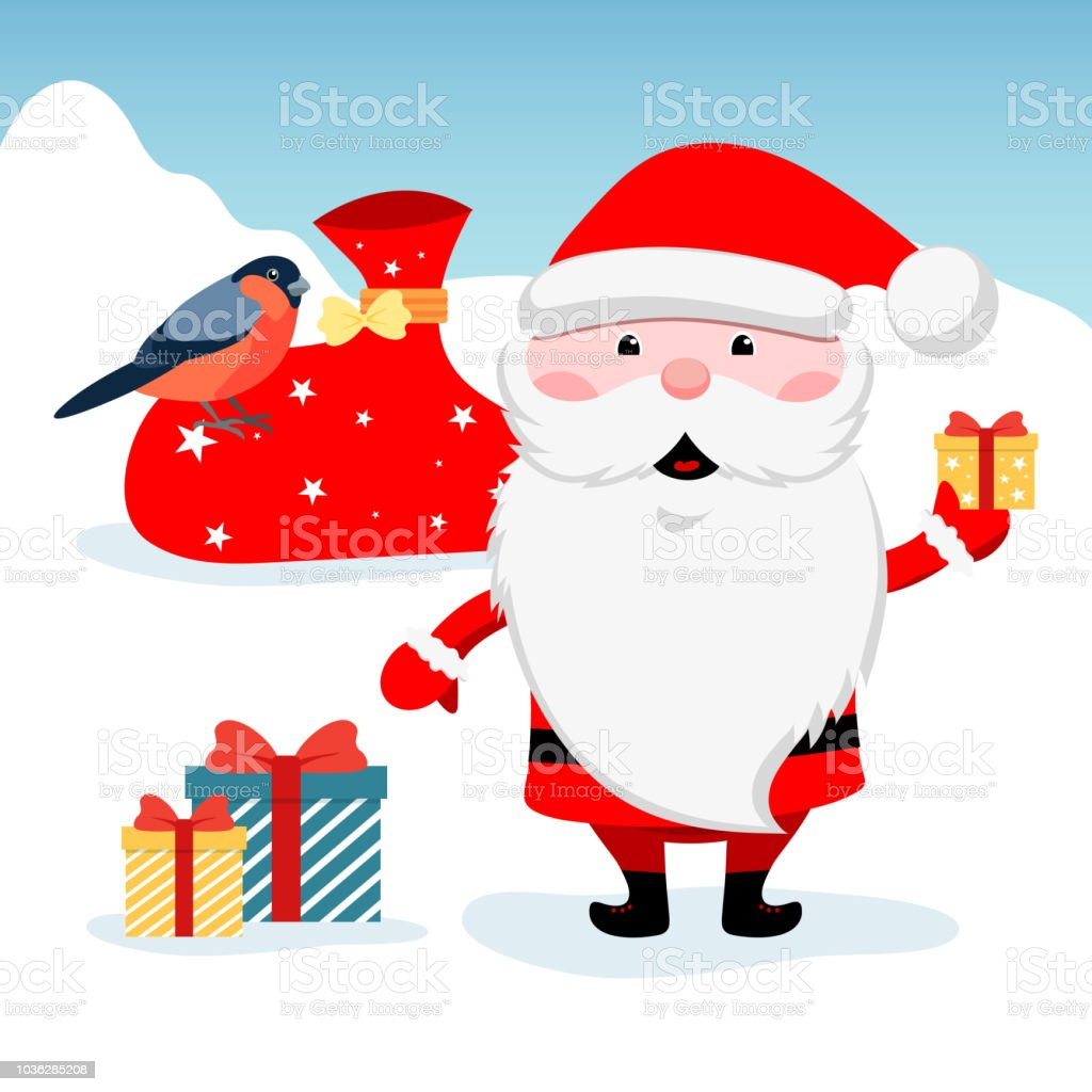 Winter Christmas Illustration Funny Santa Claus With Gift Colored ...