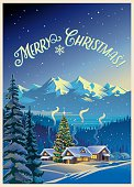Winter forest landscape with houses and Christmas tree. Greeting card.
