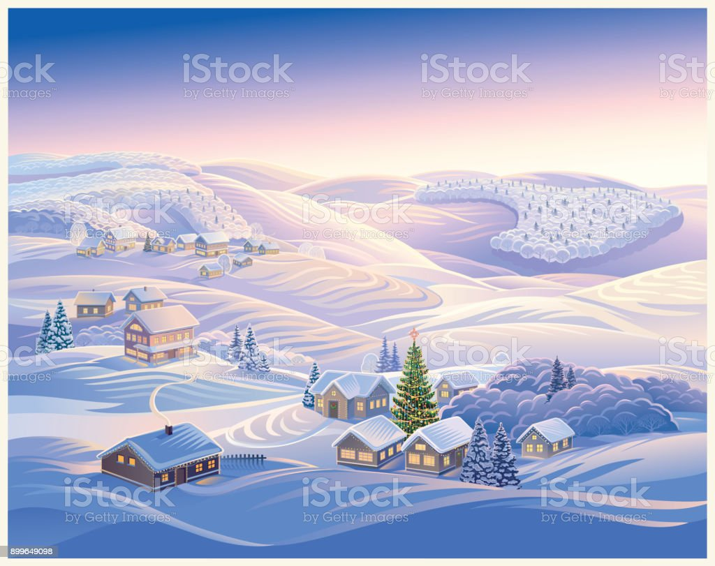 冬クリスマスの風景 おとぎ話のベクターアート素材や画像を多数ご用意