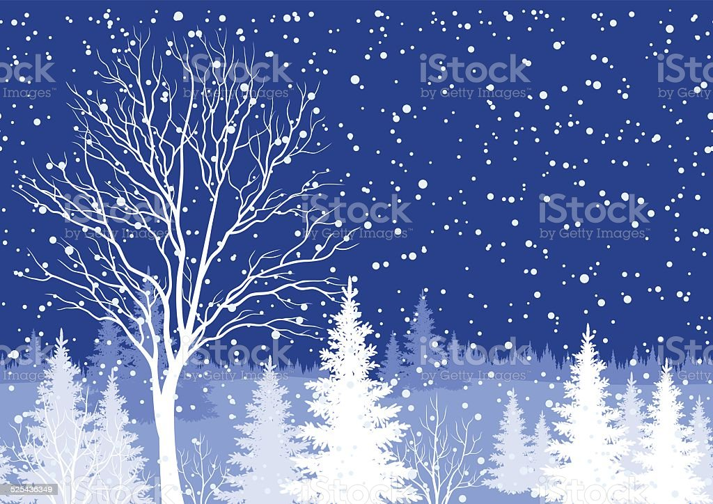 Winter Weihnachten Landschaft Mit Baum Stock Vektor Art und mehr ...